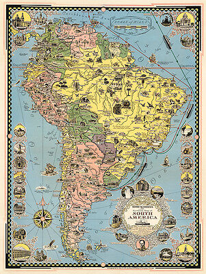 A Pictorial Map of South America 1942 75cm x 56.5cm High Quality Art Print