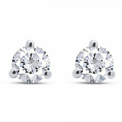 5 Ct. Round Cut Martini 3 Prong Stud Earrings 14K Solid White Gold Screw Back
