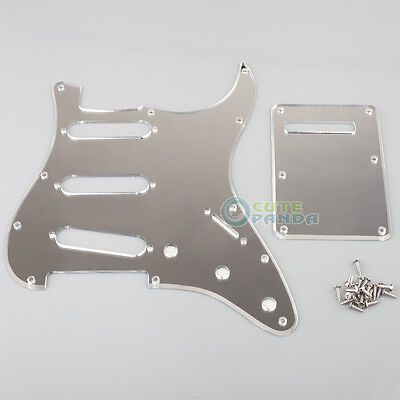 1-Ply 11 Holes Chrome Strat SSS Mirror Guitar Pickguard+Back Plate Tremolo Cover