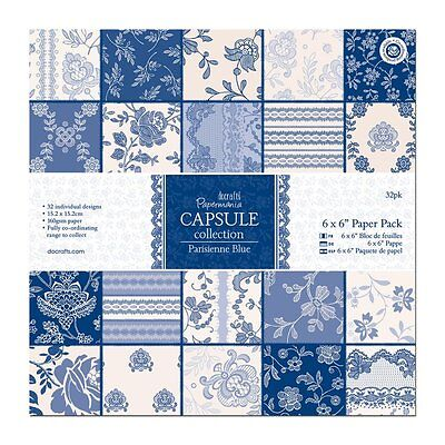"""Card stock  Patern 6 x 6"""" Paper Pack 32 pack Capsule Collection Parisienne Blue"""