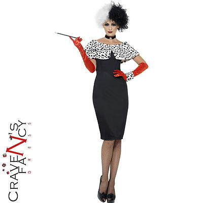 Evil Madame Costume Cruella De Ville Ladies Halloween Fancy Dress Womens Outfit