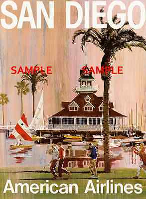 """BOSTON American Airlines 8.5/"""" x11/""""  Travel Poster"""