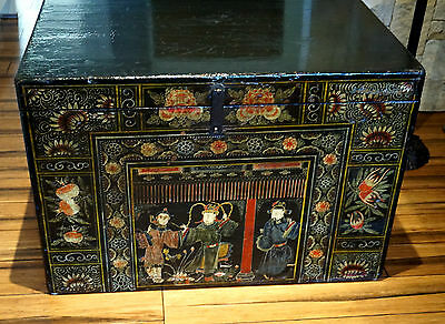 Beautiful Antique Hand Painted lacquer Chinese Chest