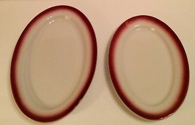 2 Caribe Platters Red Air-Brushed Border One Large One Medium Puerto Rico USA