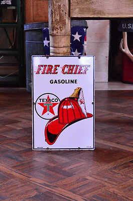 Original Porcelain Texaco Fire Chief Pump Plate Sign, Service Station Sign
