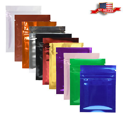 Many Colors for 100 Shiny Glossy Reclosable Metallic Mylar Zip Lock Bags