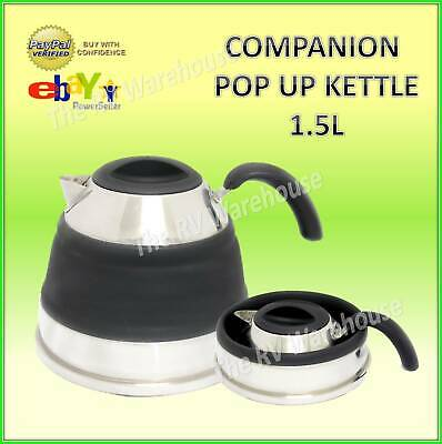 Pop Up Kettle Black 1.5L Companion New Camping Caravan Boat Collapsible New