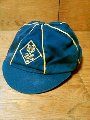 Vintage Official BSA Cub Scouts Cap, Blue and Gold Short Bill NICE Made in USA