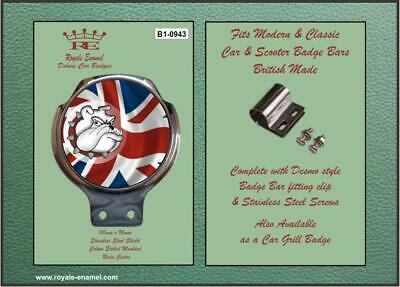 Royale Classic Car Badge & Bar Clip BRITISH BULLDOG UNION JACK Mod B1.0943