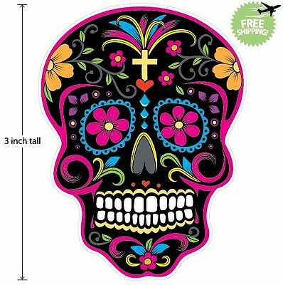 3 inch Mexican Sugar Skull Phone Decal Sticker Day of the Dead #37