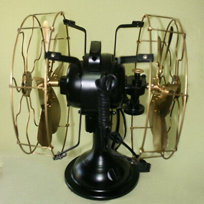 Fan Electric Table Vintage Fans Blade Metal Brass Oscillating Double Sided