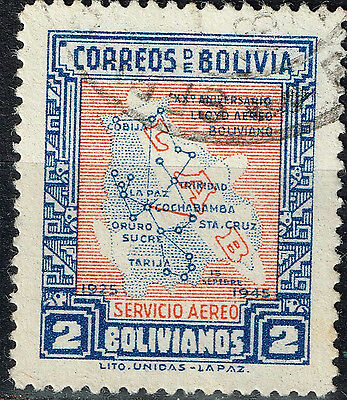 Bolivia Country Map stamp 1927