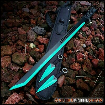"28"" NINJA SAMURAI Full Tang SWORD KATANA Machete w/ Throwing Knives Set Kunai"