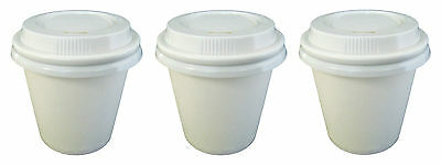 150 Sets x 4oz WHITE Single Wall Paper Coffee Cups And Lids 118ml Disposable