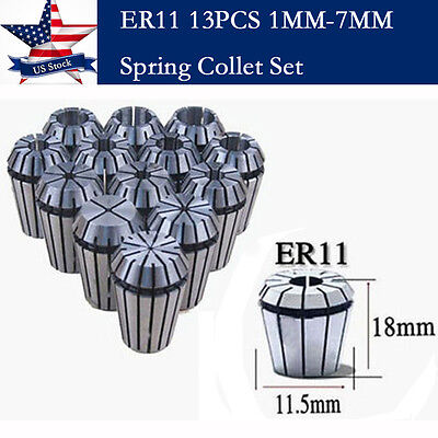 13 PCS ER11 Spring Collet Set For CNC Workholding Engraving & Milling Lathe Tool