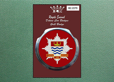 Royale Classic Modern Car Grill Badge + Fittings LONDON FIRE BRIGADE B2.2279