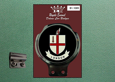 Royale Classic Car Badge & Bar Clip LONDON ENGLAND BLACK B1.1089