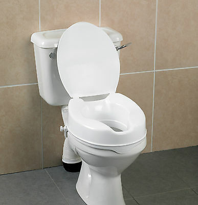"Raised Toilet Seat White 2"" or 4"" with or without Lid Stroke/Arthritis."