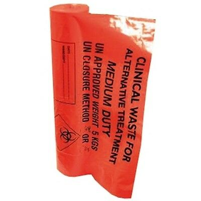 "Clinical Waste Bags Orange 20 Litre -  11"" x 17"" x 26""  (Roll 50 Bags)"