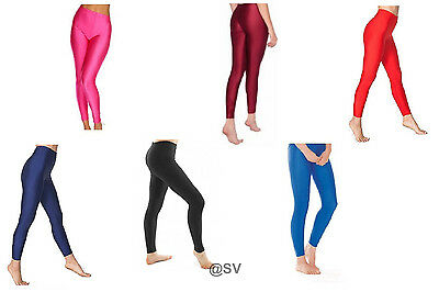 Girls Children Kids Footless Leggings Ballet Dance Gymnastics Shiny Nylon Lycra