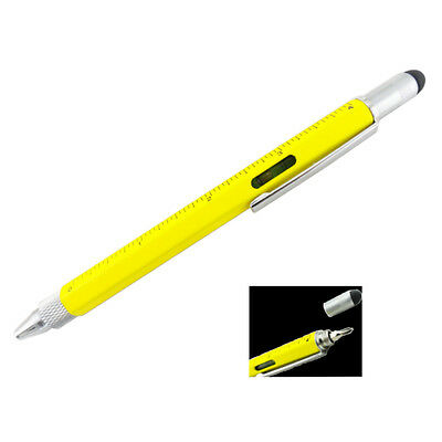 Tool Ball Point Pen, Multi-Functional Pen, With Stylus, Yellow