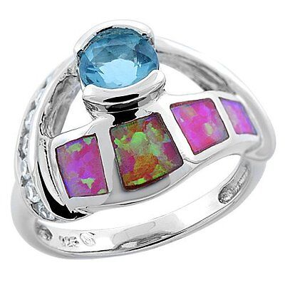 """Sterling Silver Synthetic Pink Opal Ring Brilliant Cut Blue Topaz CZ Center 5/8"""""""