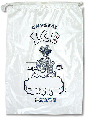 """Plastic Ice Bags 8 Lbs with Drawstring Closure 10""""x20"""" 1.5 mil - 500 Bags/case"""