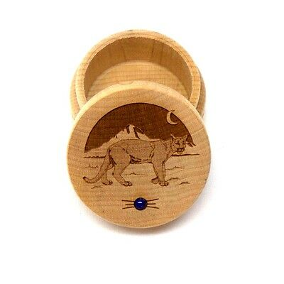 Cougar Maple Wood Carved Round Trinket Box Western Inlaid Lapis Lazuli New