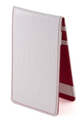 SS Tour | Crocodile Golf Scorecard & Yardage Book Holder White/Red Leather New
