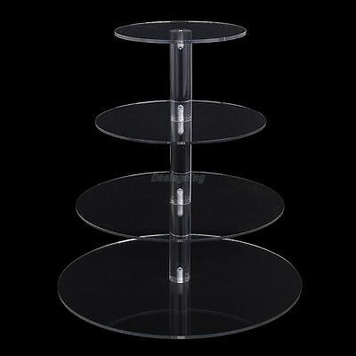 4 Tier Clear Acrylic Round Cupcake Stand Birthday Wedding Party Display