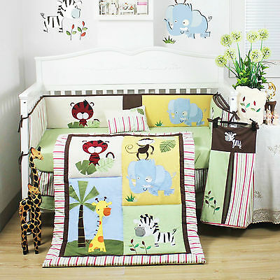 8 Pcs Beautiful Jungle Animal Baby Boy's Crib Cot Bedding Quilt Set KLF497