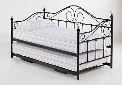 LPD Florence 3FT Single Black Metal Day Bed With Trundle