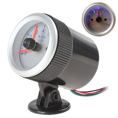 Silver 0~8000RPM Blue Light Car Tachometer Gauge with Holder Cup + rubber ring