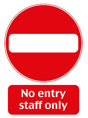 Employees Only No Entry - Staff Only Sign - A4 Vinyl Waterproof Sticker