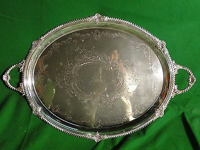 Silver Plated Antique Tray, Large Size, Victorian Shell & Gadroon Circa 1860