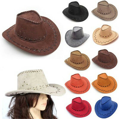 New Suede Look Wild West Fancy Dress Mens Ladies Cowgirl Cowboy Hat Unisex Hats