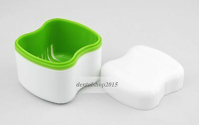 1Pc Dental Denture Box Retainer Orthodontic Dental Case Mouth Tray Green Color