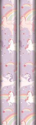 4m Children's Gift Wrapping Paper 2x2m Roll - Girls Unicorn Design - Birthday