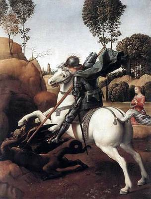 Ölbilder Ölgemälde Gemälde Raphael: St George and the Dragon 53x70cm
