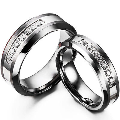 TUNGSTEN CARBIDE WOMEN or Mens Wedding Engagement Ring Band Set Zirconia M16