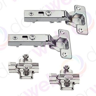 2 x SOFT CLOSE DOOR HINGES and Cruciform Plate Kitchen Cabinet Wardrobe Cupboard