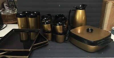 West Bend Thermo-Serv Insulated Ware Pitcher Mug Tray Tumbler Server Lot Of 22