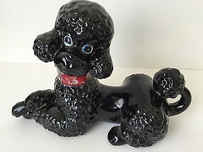 Vintage Black POODLE Dog Ceramic Porcelain Figurine with Blue Eyes