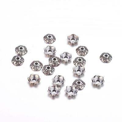 50pc 6mm antique silver metal bead cap-8931A