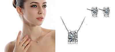 Elegant! 925 Sterling Silver 2.0 Cubic Zirconia Jewelry Set: Necklace & Earring