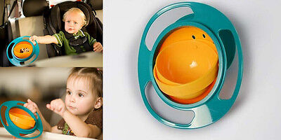 Non Spill Feeding Toddler ZO CA Gyro Bowl 360 Rotating Baby Avoid Food Spilling