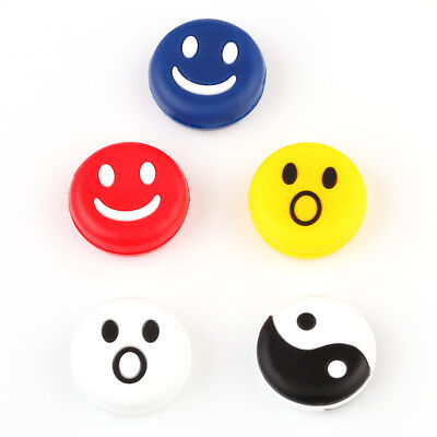 5pcs Silicone Rubber Smile Face Tennis Racquet Vibration Dampener Shock Absorber