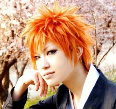 Bleach Kurosaki Ichigo Anime Orange Short Straight Cosplay Heat Full Hair Wig