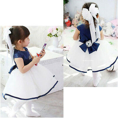 NEW GIRLS Baby Kid's Gorgeous Blue Pageant Princess Party Wedding Dresses