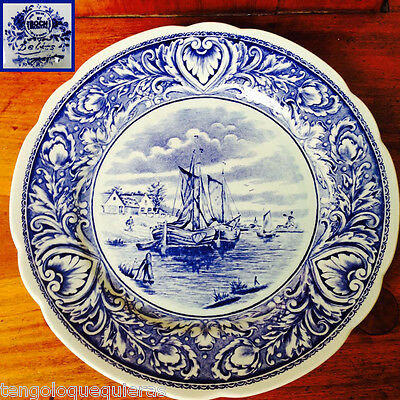 "Antique BOCH DELFT BELGIUM 10"" PLATE SAILING SHIP Wall Hanging plato de colgar"